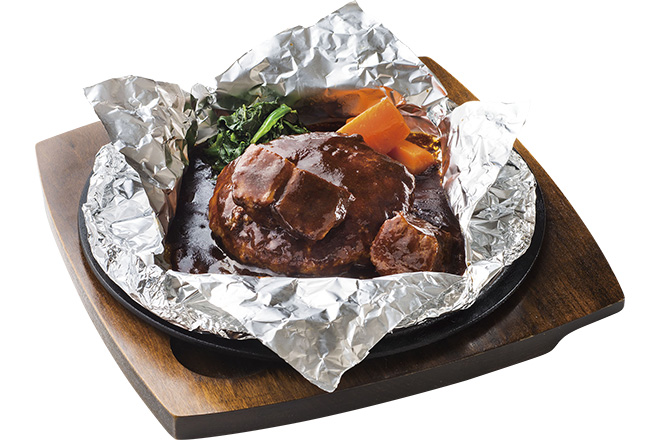 ホイル包みのハンバーグステーキビーフシチューソース