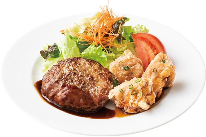 ハンバーグステーキ&チキンの竜田揚げ