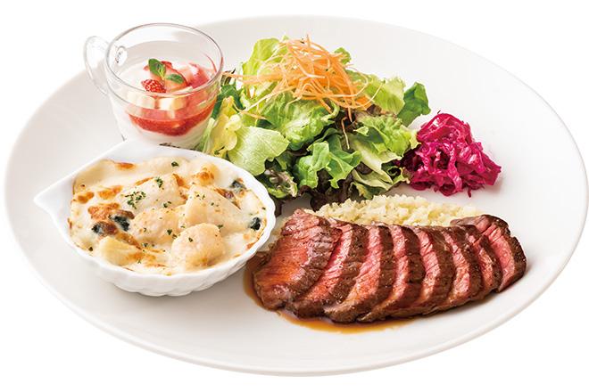 プライムビーフもも肉カットステーキ&北海道産帆立のグラタン