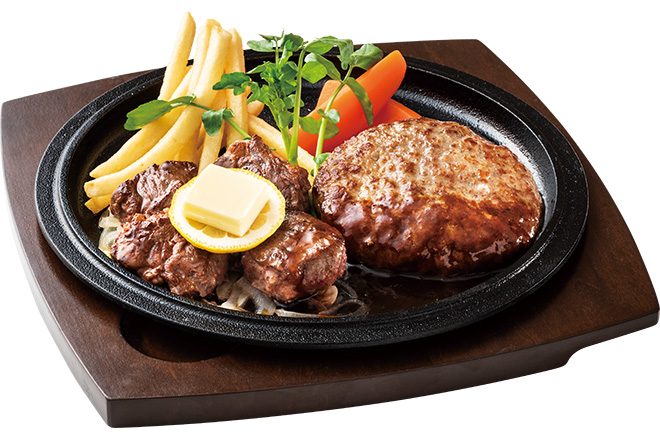 牛フィレカットステーキ&ハンバーグステーキ